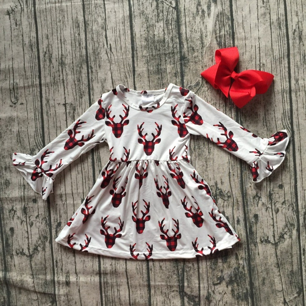 new Christmas girls children clothes baby cotton Fall/Winter red reindeer long sleeve ruffles milk silk dress boutique match bow new fall winter baby girls milk silk cotton dress navy perple floral flower striped ruffle long sleeve children clothes boutique