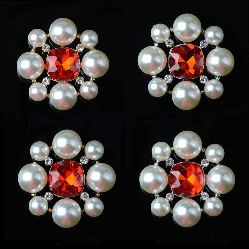 2pcs lot Red Rhinestones Buttons Pearl Flatback DIY Decorative for Brooch Pin Dress Coat Bag Alloy Badge Wedding Accessories in Buttons from Home Garden