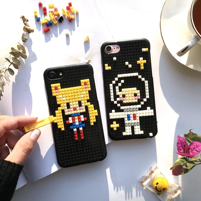 meet ce2cd 846c4 US $8.4 |Fashion Original DIY Legos Blocks Brick plastic phone Case for  iPhone 6 6S 7 8 Plus Newest Beautiful Sailor Moon Astronaut Cover on ...