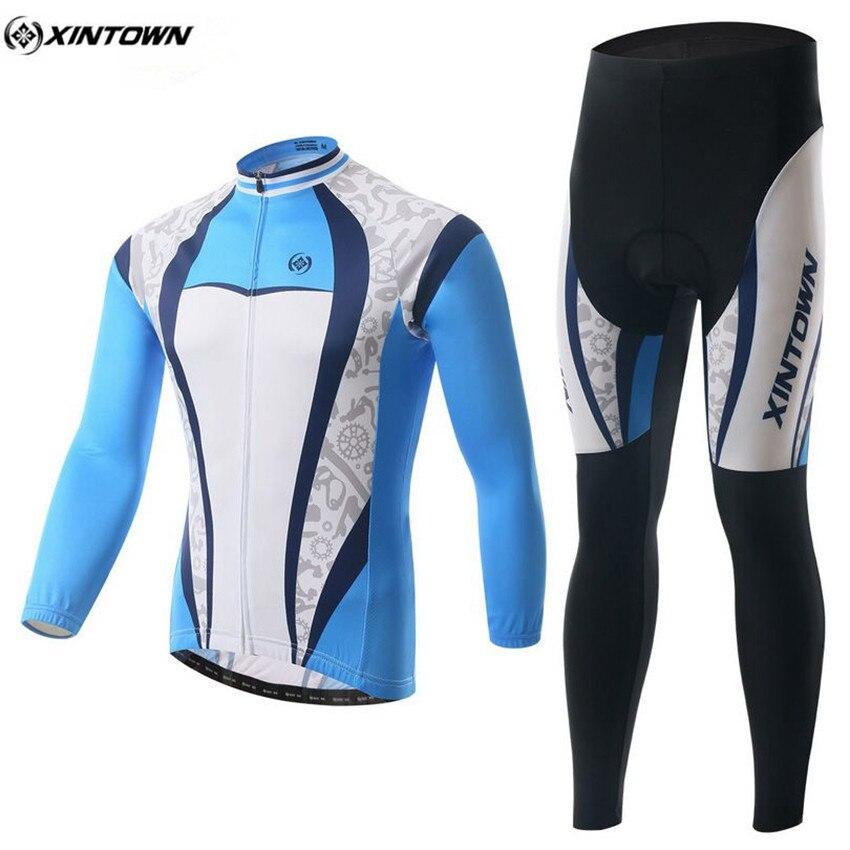 XINTOWN Winter Men Long Cycling Jersey Set Mtb Roupa Ciclismo Bike Outdoor Sportswear Riding Cycling Clothing