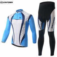 Xintown冬男性長いサイクリングジャージーセットmtb roupa ciclismoバイクアウトドアスポーツ乗馬サイクリング服CC0336