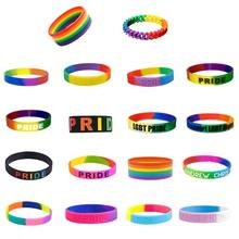 18 Types Unisex LGBT Rainbow Letters Sports Wristband Six-Color Gay Lesbian Pride Silicone Rubber Wristlet Bracelet Party Parade(China)