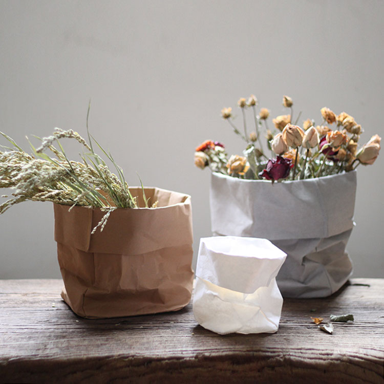 Dried & Artificial Flowers Nordic Style Home Decor Kraft Paper Bag Vase Artificial Flower  Flowerpot