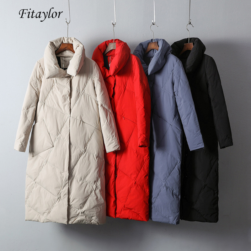 Fitaylor Women Winter Down Jacket Ultra Light 90% White Duck Down Stand Collar Snow Wear Ladies Long Parkas Down Overcoat