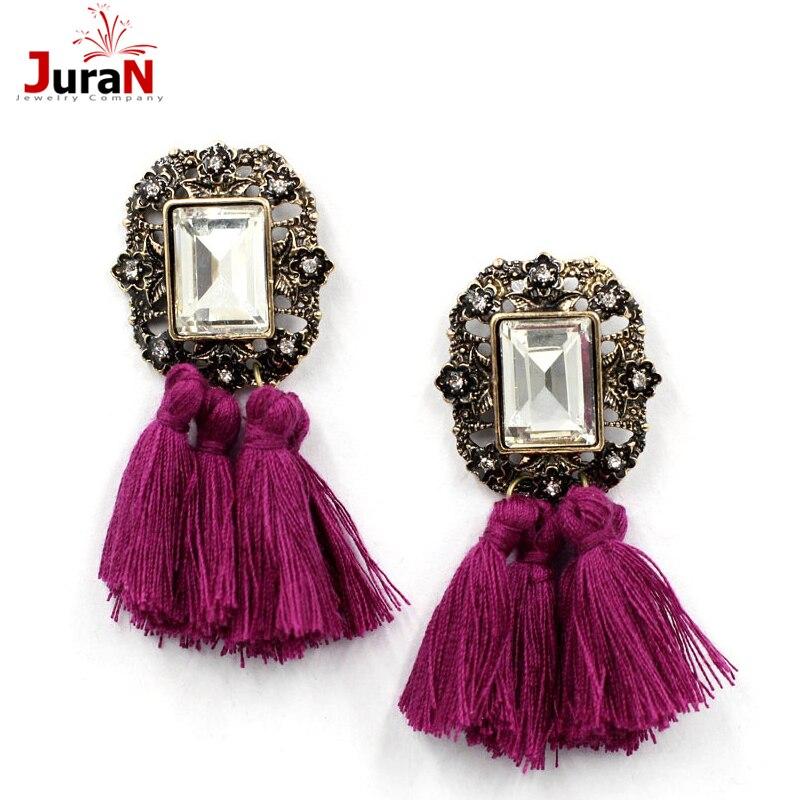 JURAN 2017 Fashion Jewelry Women Crysta Vintage Tassel Statement Bib Stud Earrings For Women Jewelry Factory Price E2104