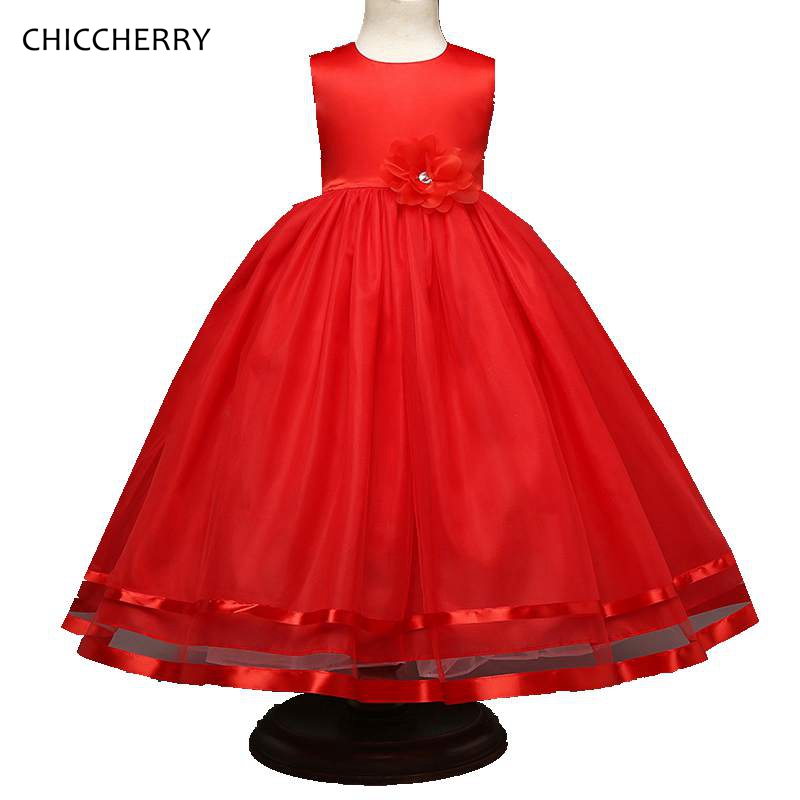 Red Flower Kids Ball Gown Party Outfits Summer Children Girl Wedding Dress Robe Fille Mariage Princess Dresses Toddler Clothes