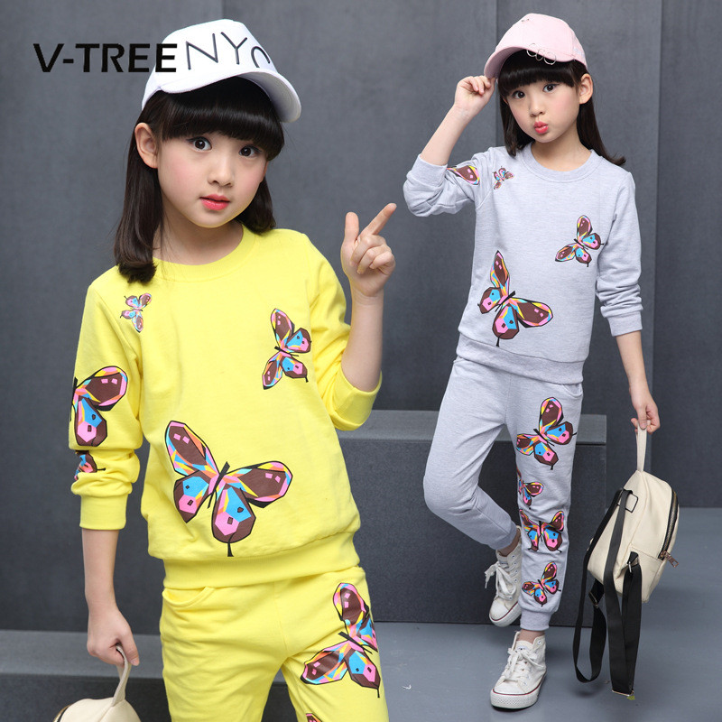 V-TREE Spring Girls Clothing Sets Suit Sets For Teenagers Girl 10 12 Years Clothes Kids Sports Clothes Tracksuit new 2018 spring girls clothing sets kids graffiti sweatshirt sports tracksuit suit set for children teenagers girls clothes 54