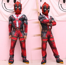 High Quality Boys Marvel Anti-Hero Deadpool Kids Children Muscle Movie Halloween Carnival Party Cosplay Costume