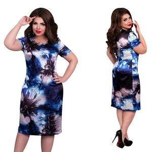 2020 Fashion Brand Women Dress Plus Size 6XL Vestidos O Neck Print Flower Straight Casual Summer Knee Length Oversized Dress(China)