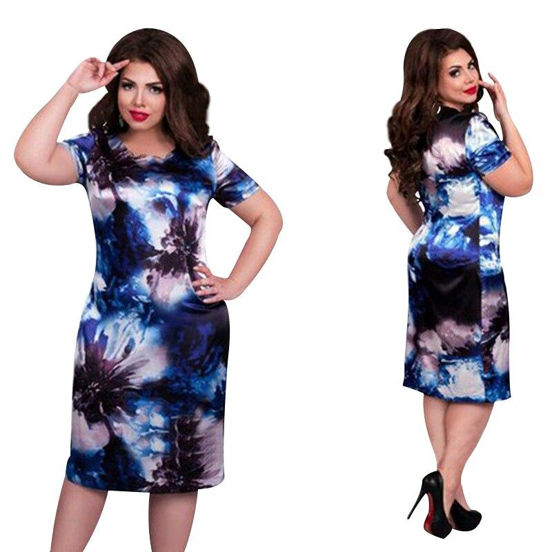 2018 mode Marke Frauen Kleid Plus Größe 6XL Vestidos O Neck Drucken Blume Gerade Casual Sommer Knie Länge Übergroßen Kleid
