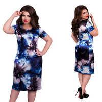 2020 mode Marke Frauen Kleid Plus Größe 6XL Vestidos O Neck Drucken Blume Gerade Casual Sommer Knie Länge Übergroßen Kleid