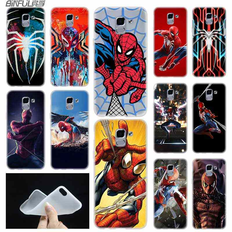 Marvel Comics Spider Man Case Cover Tpu Coque untuk Samsung Galaxy J6 J8 J3 J5 J7 J4 J2 J1 PLUS 2018 2016 2017 Uni Eropa Utama Ace