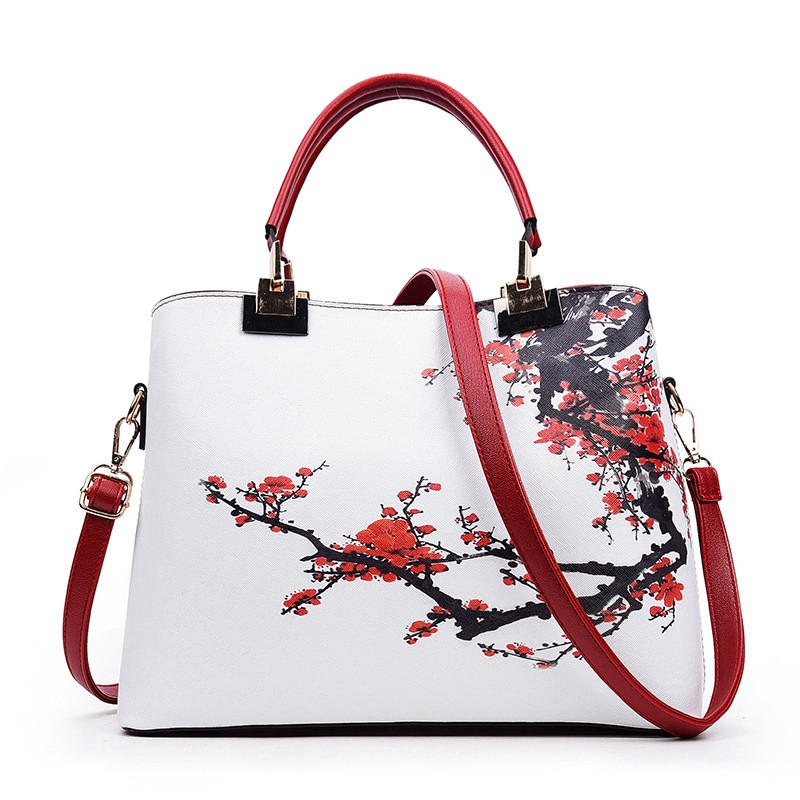 2017 New Flowers Print Chinese Style Vintage Fashion Design Leather Women Handbag Ladies Messenger Bag Female crossbody bags korean style different flowers and plant of 50 chinese embroidery handmade art design book