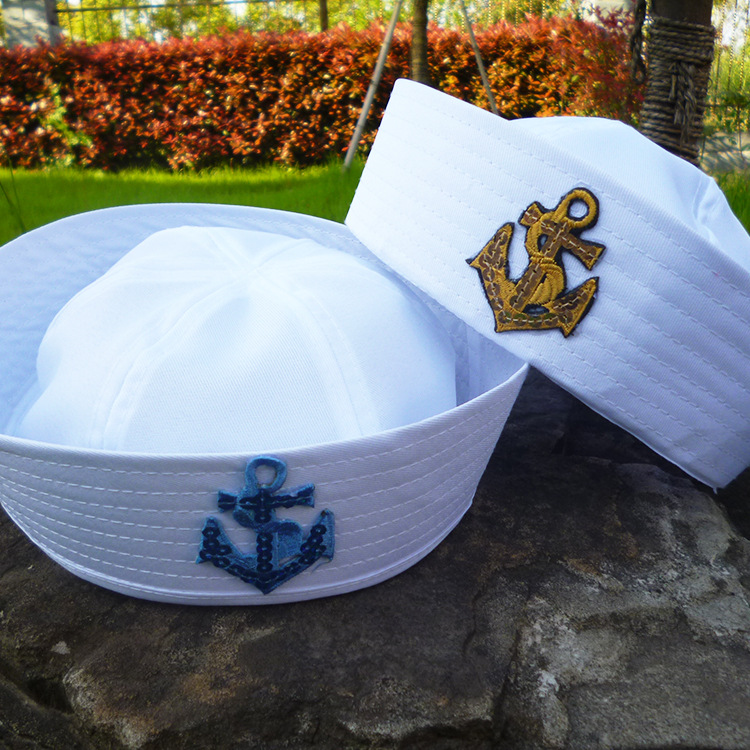 Child Sailors Ship Boat Captain White Hat Navy Marine Cap With Anchor Sea Boating Nautical Fancy Dress Nurse Hat Military Hats