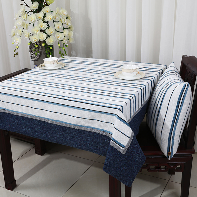 Striped Patchwork Table Cloth Cotton Linen Dining Protective Pads High End Tea Fashion