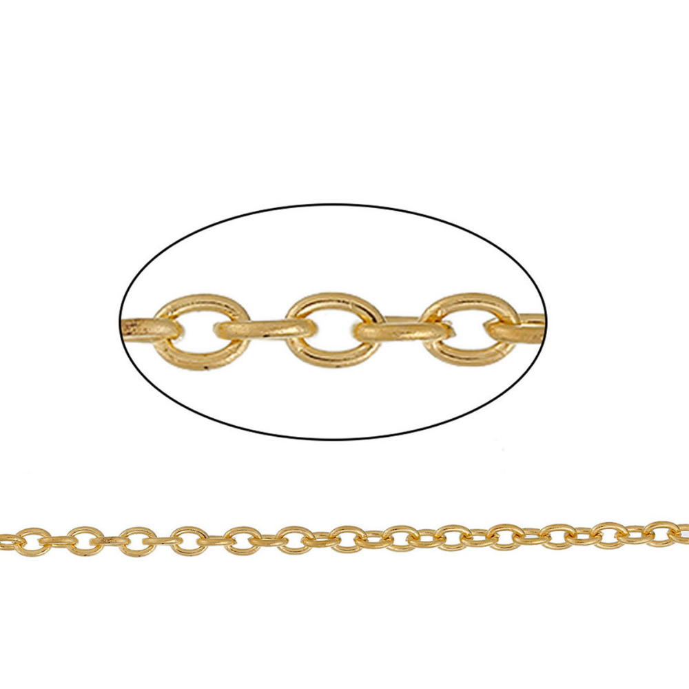 DoreenBeads Iron Based Alloy Gold Color Link Cable Chain Findings DIY Chain 3.7x2.7mm( 1/8 x 1/8), 50cm(19 5/8) long, 1 PieceDoreenBeads Iron Based Alloy Gold Color Link Cable Chain Findings DIY Chain 3.7x2.7mm( 1/8 x 1/8), 50cm(19 5/8) long, 1 Piece