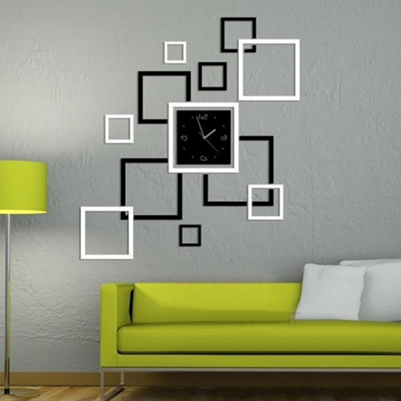 US $4.8 26% OFF|Bedroom Wall DIY Decal Modern Clock Mirror Wall Sticker  Living Room Wall Decor Stickers Sofa Background Photo Frame Sticker-in Wall  ...