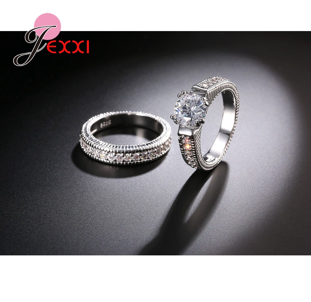 Jexxi Charm Classic Cz Crystal Wedding Ring 925 Sterling Silver