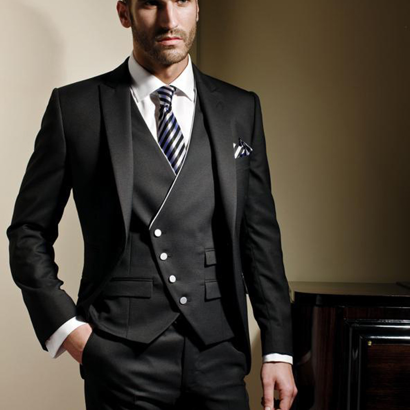 Black Slim Fit Formal Men Suits Custom Wedding Groom Tuxedos For Prom Stage Clothes 3 Piece Male Jacket Pants Vest Waistcoat
