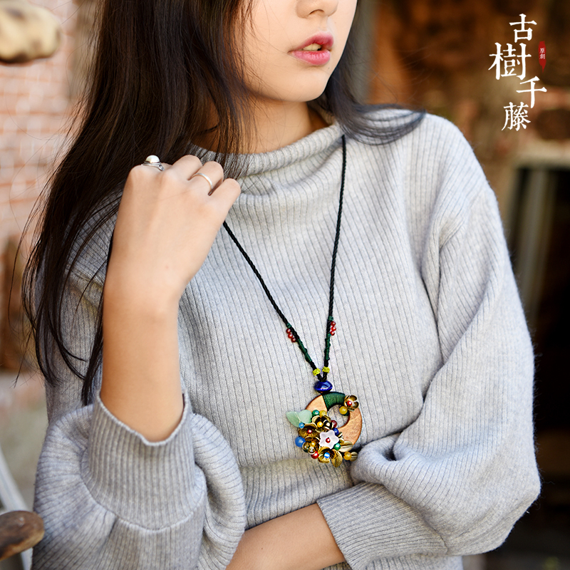 sweater vintage necklace for women long rope chain wood round shell and bronze alloy flower pendant ethnic jewelry new arrival