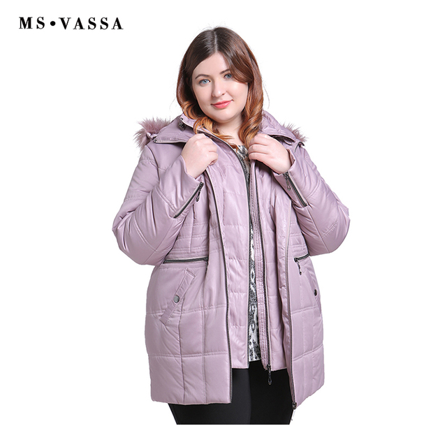 MS VASSA New Parkas 2019 Women winter Autumn Ladies Jackets turn-down collar hood with fake fur plus size 5XL 6XL female