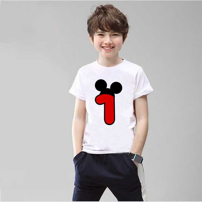 Mouse Happy Birthday  Digital Cute Printed Clothing Children's Interesting T-shirt Cotton Children's 1-9 Birthdays