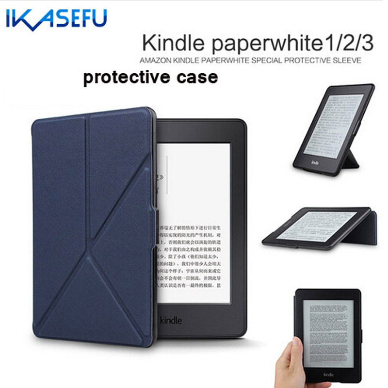 IKASEFU Candy Color PU Leather Case Cover for kindle paperWhite 6 inch Sleep Function Coque fundasFor kindle paperWhite 1 2 3 6