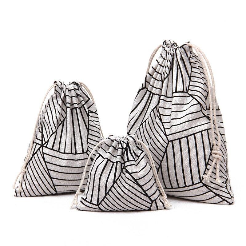 YILE 1pc Cotton Linen Drawstring Pouch Party Gift Bag Sorted Bag Print Geometry Diamond 8115b