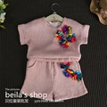 2016 South Korean children's wear new girls in the summer of three-dimensional flower shirt + Shorts 2 sets of suits