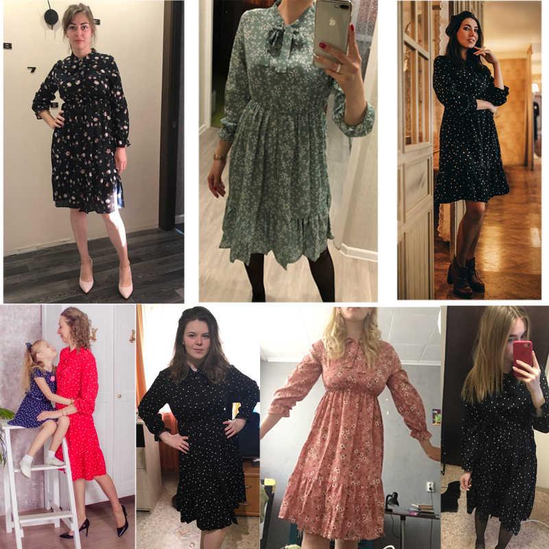 Kostlich/летнее женское шифоновое платье с цветочным принтом и эластичной резинкой на талии; элегантное платье с длинными рукавами и оборками; офисное Повседневное платье миди
