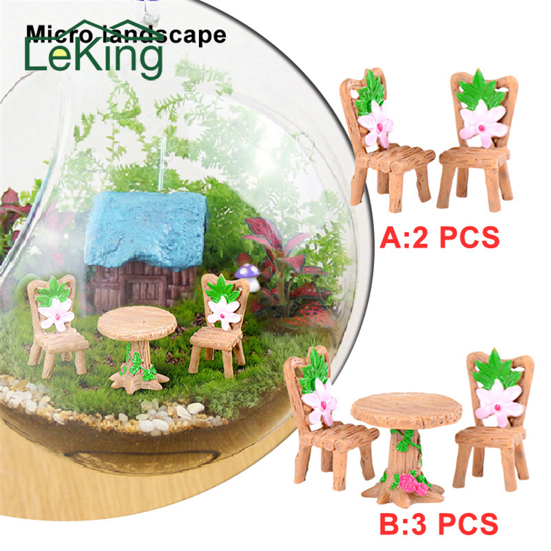 Artificial Micro Landscape Wood Chairs Tables Desk Stool Craft Miniatures For   Bonsai Pot Home Garden Decorations