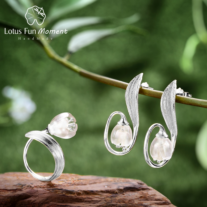 Lotus Fun Moment Real 925 Sterling Silver Fashion Jewelry Natural Crystal Lily of the Valley Flower Jewelry Set for Women lotus fun real 925 sterling silver handmade fine jewelry natural crystal lily of the valley flower brooches for women brincos