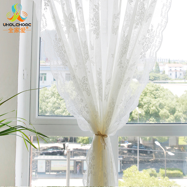 Pleated Tulle Curtains Lace Decorative Window Sheer Voile Floral