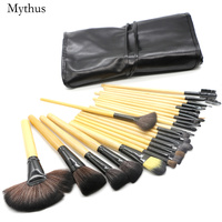 Mythus 24pcs Wool Makeup Brushes Kit With Bag Functional Comestic Tools Brush Set In Wood Eyeline