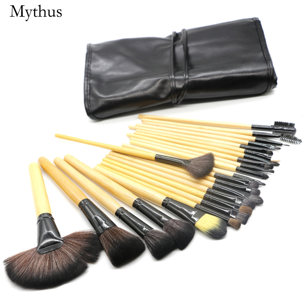 Mythus 24pcs Wool Makeup Brushes Kit With Bag Functional Comestic Tools Brush Set In Wood Eyeline Powder Toiletry Brushing Kits