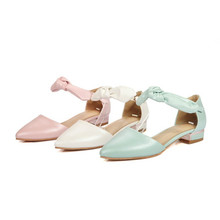 Ladies Sweet Buckle Riband Knot Flat Sandalias Party Princess Shoes Women's Big size 34-43 Flip flops Pointy Toe Narrow Mouth