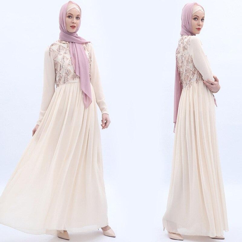 Luxury Muslim Long Robe Gowns Middle East Eid Ramadan Islamic Sequins Abaya Tassels Full Dress Formal Chiffon Cardigan Kimono in Islamic Clothing from Novelty Special Use