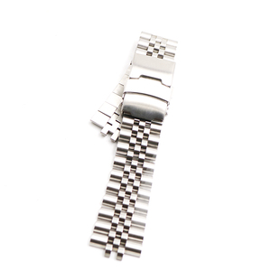 Image 2 - CARLYWET 22mm Hollow Curved End Solid Screw Links Stainless Steel Silver Watch Band VINTAGE Jubilee Bracelet Double Push Clasp