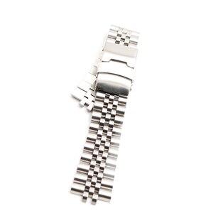 Image 2 - CARLYWET Bracelet VINTAGE avec fermoir à Double pression, fin incurvée creuse, 22mm, en acier inoxydable, argent Bracelet de montre