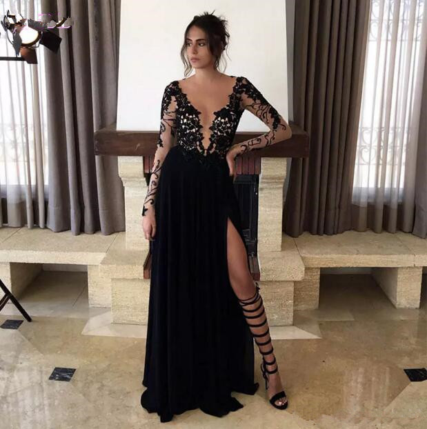 New Arrival 2017 Black Prom Dresses Long Sleeves Formal Evening Gown Jewel Lace Appliques Beads Chiffon Split Custom Made