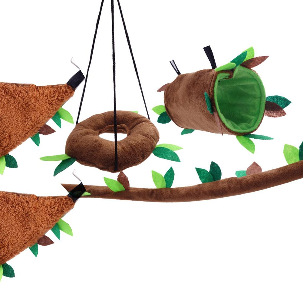 Small Pet Leaf Toy Five piece Suit Hamster Toy Ring Swing Leaf Cylinder Triangle Hammock Leaf Ropeway Toy