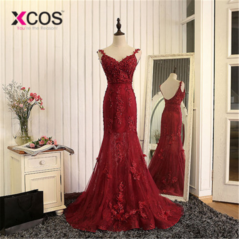 XCOS Burgundy Robe De Soiree 2018 Mermaid V-neck Tulle Appliques Lace See Through Sexy Long   Prom     Dresses     Prom   Gown Evening   Dress