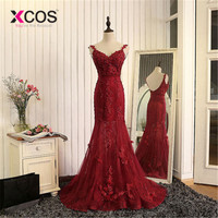 XCOS Burgundy Robe De Soiree 2019 Mermaid V neck Tulle Appliques Lace See Through Sexy Long Prom Dresses Prom Gown Evening Dress