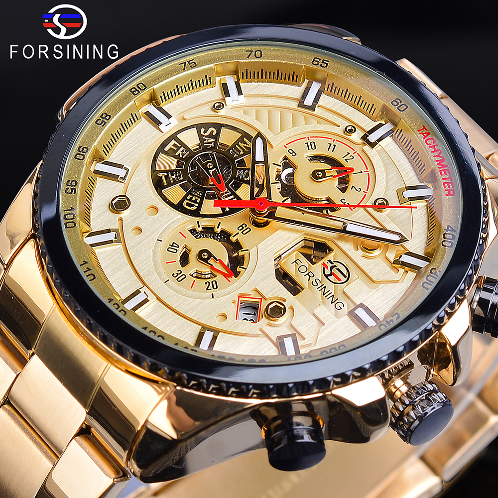 Forsining Automatic Men Watches Racing Car Design Golden 6 Hands Calendar Date Function Stainless Steel Strap Mechanical Watches in Mechanical Watches from Watches