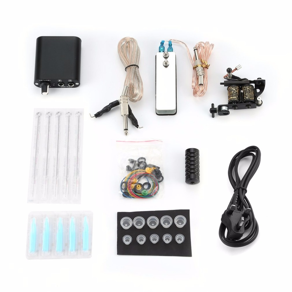 купить UK Plug Tattoo Complete Beginner Tattoo Kit Pro Machine Inks Power Supply Needle Grips Tips Tatto Accessories Basic Set по цене 1223.28 рублей