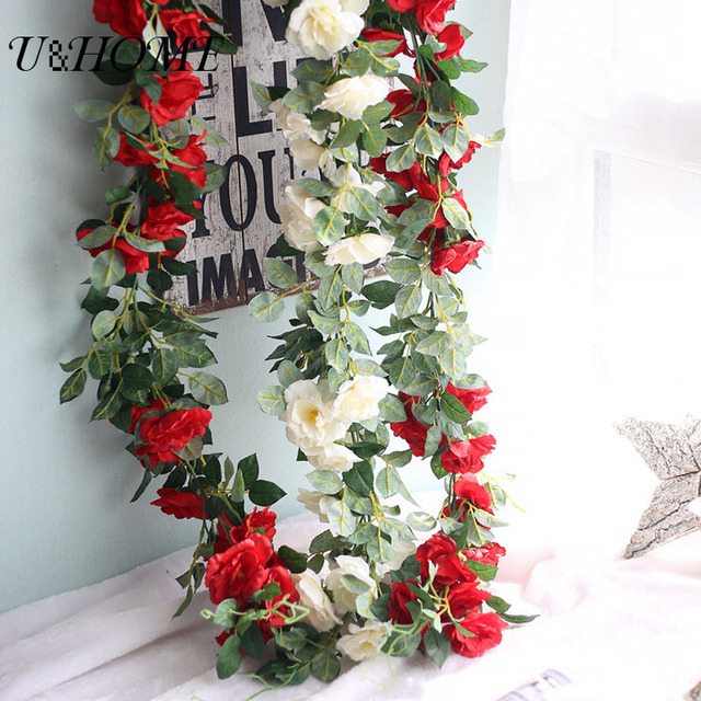 Silk Roses Ivy Vine Artificial Flowers Indoor Plant Wall With Green Leaves  For Home Wedding Decoration