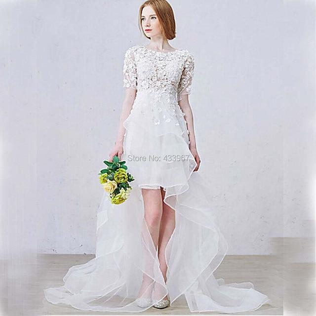 ffe8a951b48b A-line Asymmetrical Wedding Dress Lace Appliques Short Front Long Back Short  Sleeves Chapel Train