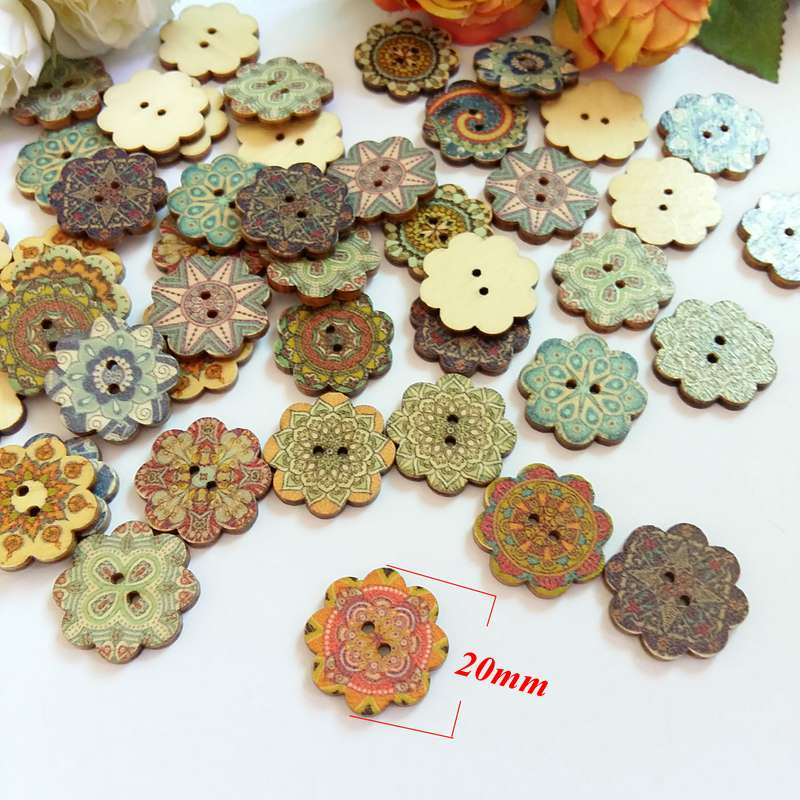 50pcs mixed wooden button mulity robots pattern scrapbook craft buttons mix wr