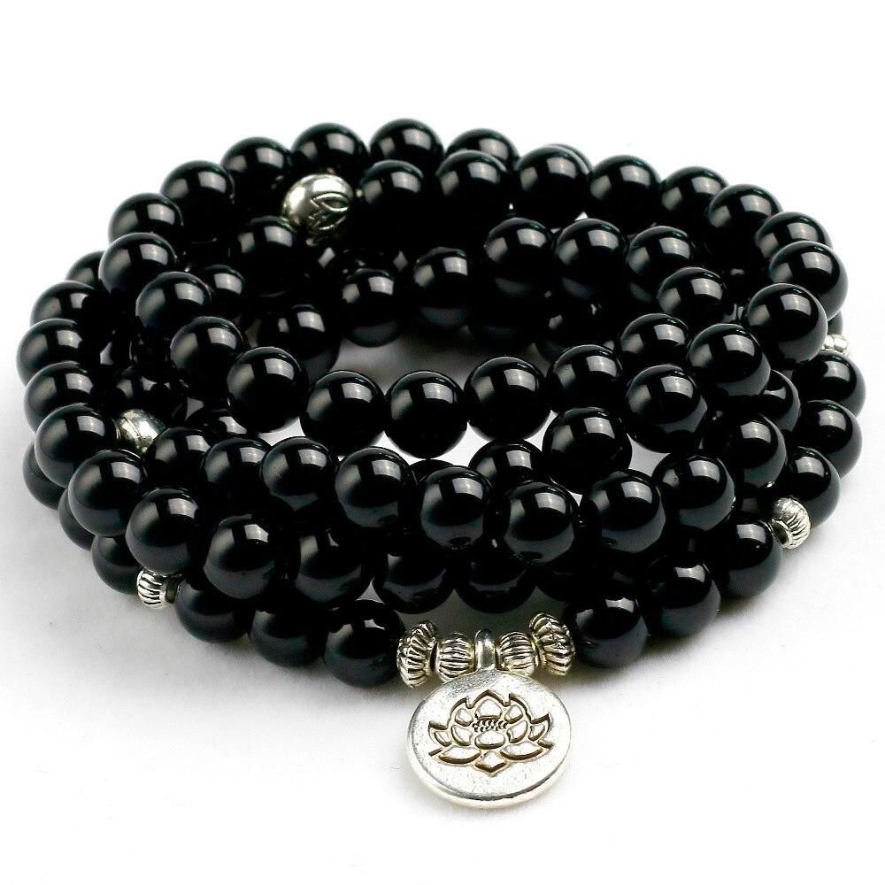 Natural Black Onyx Mala 108 Perlen Armband Halskette Frauen Männer Baum Leben Om Charme Stein Leistungsstarke schutz Yoga Schmuck