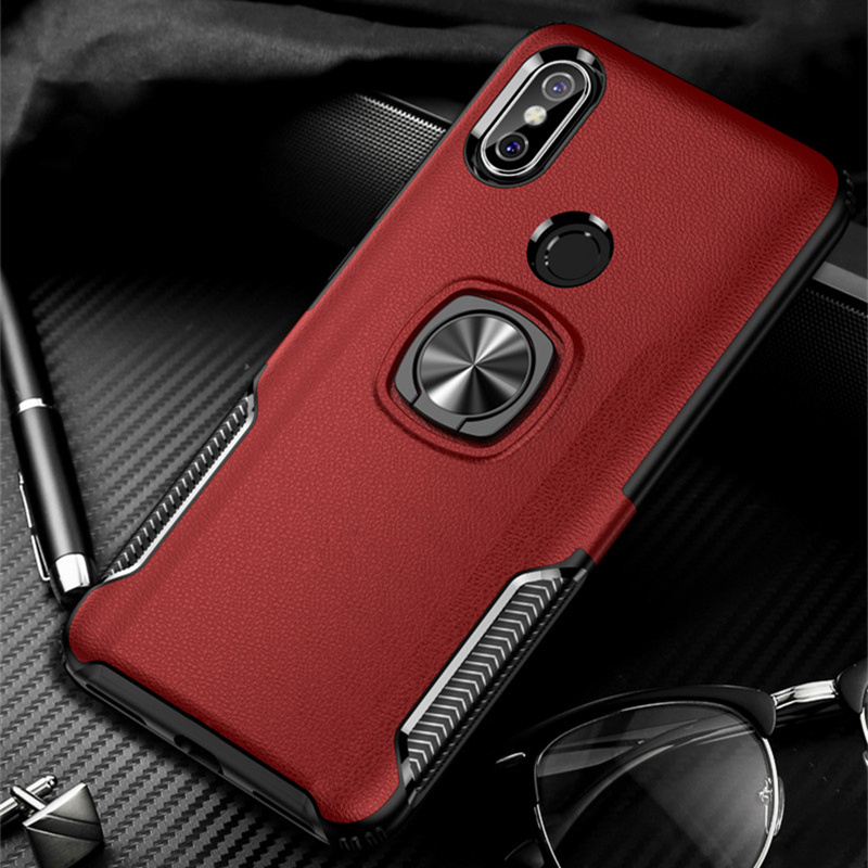 For <font><b>Xiaomi</b></font> Poco F1 <font><b>MI</b></font> 9 6X A2 8SE PC Leather <font><b>Case</b></font> <font><b>Magnet</b></font> Car Holder Cover For Redmi Note 7 5 Pro 4 4X 5 Plus Rugged Armor Coque image